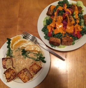 Citrus Tahini Bowl & Deviled Kale Salad
