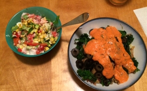 Pizza Bowl and Roasted Corn salad