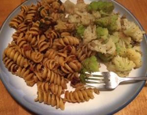 eggplant pasta and cauliflower