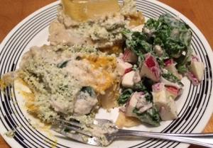 lasagna and waldorf salad